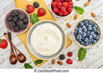 Greek yogurt in bowl