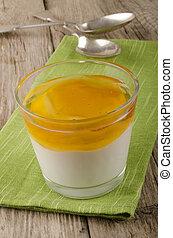 greek yogurt with honey in a glass
