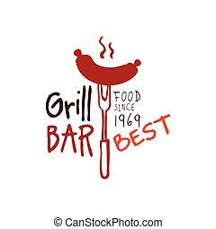 Greel bar, food since 1969 logo template hand drawn colorful...