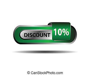Green 10 percent discount button