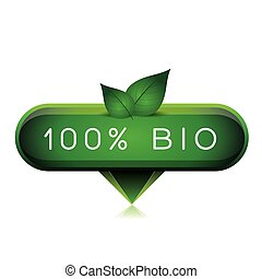 Green 100% bio pointer with leafs