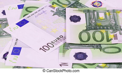 Green 100 Euro Banknotes Rotate - Rotating 100 Euros bank...
