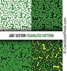 Green 123 number background seamless set