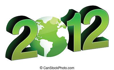 green 2012 year tex illustration design