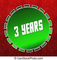 Green 3 YEARS badge on red pattern background.