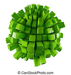 green 3D abstraction - green 3D sphere abstraction with...