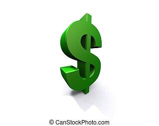 green 3d dollar - 3d rendered illustration of a green dollar...