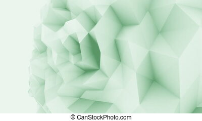 Green 3D low poly edgy sphere motion background for modern...
