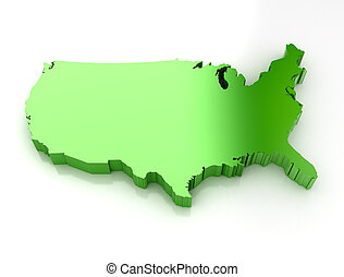 Green 3d map of usa