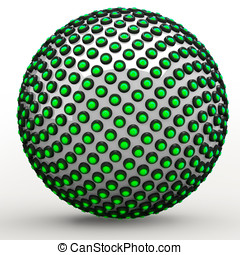 Green 3d Orb Sphere Golden Ratio Fibonacci Sequence Concept...