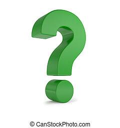 green 3d question mark - Green 3d question mark, isolated on...