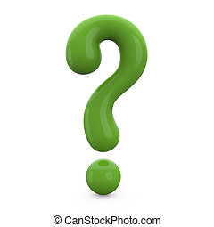 green 3d question mark isolated on white background