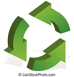 Green 3d recycling, recycle arrows with 3 curved arrows. Rotating arrows in a circle.