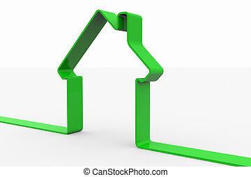 Green 3D sign of house.