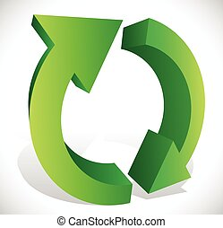 Green, 3D Spinning, rotating arrows in circle for rotation, circular motion, repetition or twist concepts.