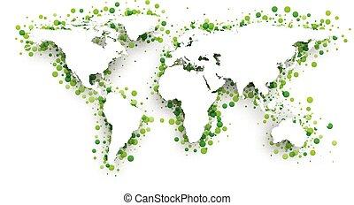 Green 3d world map.