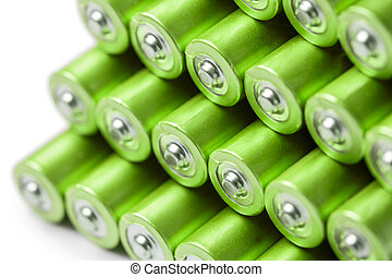 Green AAA or AA batteries stack