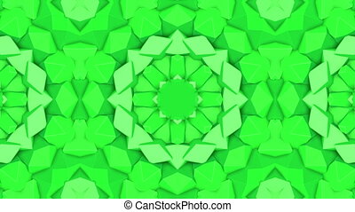 green abstract animated patterns. kaleidoscope. 3d render