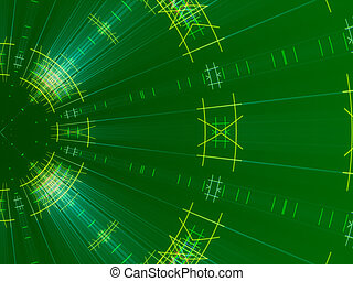 green abstract background, lines and light
