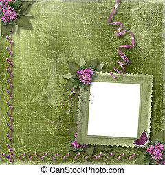 Green abstract background with frame and floral beautiful bouquet