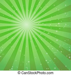 Green abstract background with rays. Vector