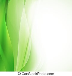 green abstract background with wavy lines. vector