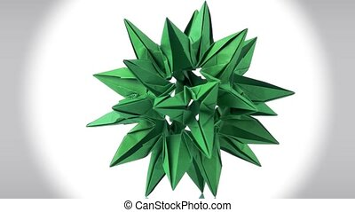Green abstract cosmic origami object. Green cardboard...