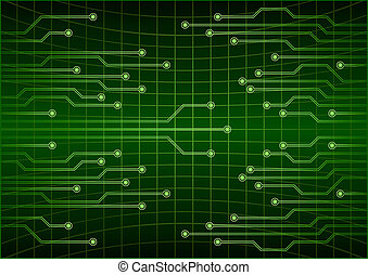 Green abstract cyber future technology concept background, circuit, binary code .