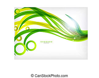Green abstract eco wave swirls with lights