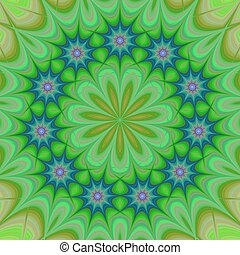 Green abstract floral fractal kaleidoscope background