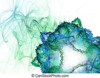 green abstract fractal flower on white background