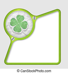 green abstract frame with screws and cloverleaf