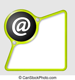green abstract frame with screws and email symbol