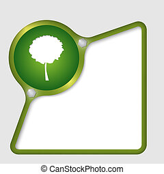 green abstract frame with screws and tree symbol