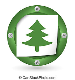 green abstract icon with paper and tree symbol