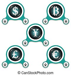Green abstract icons and silver currencies symbols