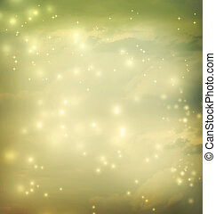 Green abstract lights on cloud background
