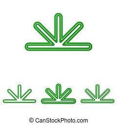 Green abstract line logo design set