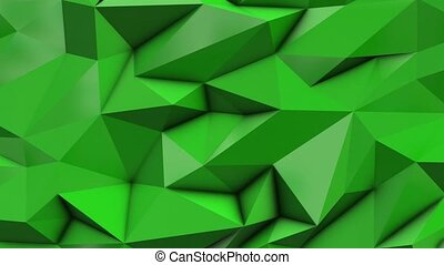 Green abstract low poly triangle background