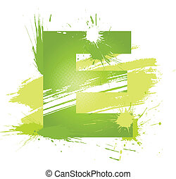 Green abstract paint splashes font. Letter E