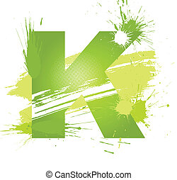 Green abstract paint splashes font. Letter K