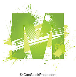 Green abstract paint splashes font. Letter M