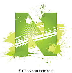 Green abstract paint splashes font. Letter N