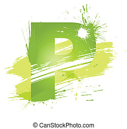 Green abstract paint splashes font. Letter P