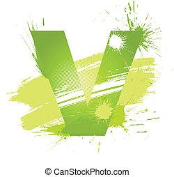 Green abstract paint splashes font. Letter V