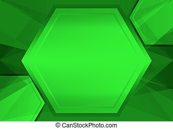 green abstract poly and hexagon background with copy space