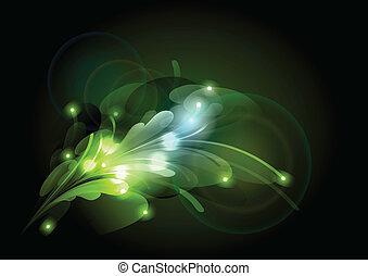 green abstract shapes