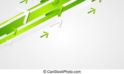 Green abstract tech geometric video animation with arrows