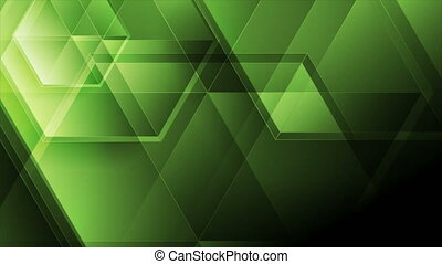 Green abstract tech motion background with glossy polygons...