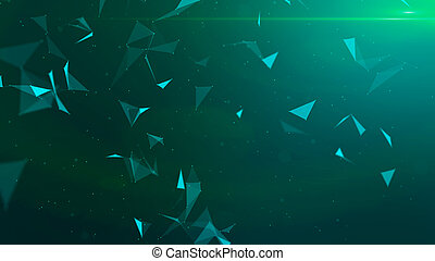 Green abstract technology modern background with spotted particles and plexus connected triangle lines. 3D rendering.